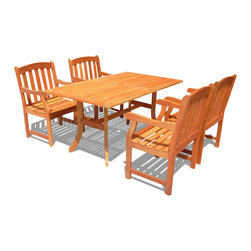 Vifah - Vifah Atlantic Dining Set with 4 Ward Armchairs - Vifah - Patio Dining Sets - V187SET25 - Enjoy sunny days outside with this Atlantic Rectangular Dining Table Set! Dress up your patio with this inviting set featuring a large rectangular table and 4 Ward Armchairs. With a flat rectangular top, this table is versatile and convenient as well as beautiful. The large table can easily accommodate up to 6 people, making it the center of attention at outdoor barbeques, parties, and family or friend gatherings. The table features an umbrella hole in the middle, allowing an umbrella to be secure while shading from the hot sun or gentle summer rain. The Vifah Ward chair is beautifully constructed and durable and is slatted to allow for rain water run through. For added comfort, the chair is contoured and has rounded armrest and a straight back. The finest materials bring exceptional durability and quality to this patio furniture set. The chairs are beautifully constructed and strong, letting you spend your lazy days relaxing and enjoying food and drinks outside. Featuring beautiful FSC high density eucalyptus (Shorea) construction, this set boasts a comfortable design that can be enjoyed for years to come.