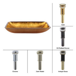 Kraus - Kraus Golden Pearl Rectangular Glass Vessel Sink with PU Gold - *This rectangular glass vessel sink is a fusion of elegance and modern