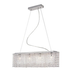 Trans Globe Lighting - Trans Globe Lighting 4-Light Crystal Rectangular Chandelier Pendant Light - The Trans Globe Lighting 4 LT Crystal Rectangular Chandelier Modern / Contemporary Pendant Light is full of glamour and complexity. Great for filling a room with style, the shade is made of multiple crystals arranged in a grand rectangular shape that glow with a flamboyant peculiarity. The body is delicate and play a fluid role in making the shade a grand gesture.