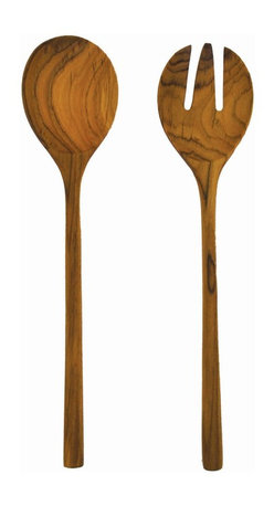 Be Home - Teak Salad Servers Set - Handmade from gorgeous teak wood left over from the logging industry, these ecofriendly salad servers bring a lovely natural aesthetic to the kitchen or dining room. They're made in Indonesia under fair trade agreements.