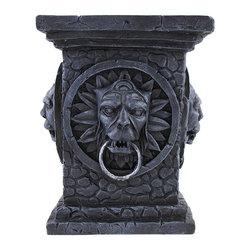 Zeckos - Gothic Tabletop Column Pillar Candle Stand - Add a unique decorative flair to any table in your home with this wickedly awesome candle stand Made of cold cast resin, it measures 6 1/4 inches tall, 4 3/4 inches wide, and 4 3/4 inches deep. It accommodates pillar candles up to 3 1/2 inches in diameter, and is sure to be admired.