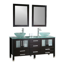 """Cambridge - Cambridge 63"""" Solid Wood & Glass Double Vessel Sink Vanity Set / Chrome Faucet - When you have plenty of space for the perfect piece of furniture, look no further. This stunning double vessel sink vanity is made of Solid oak wood and has been finished in the hot coffee color Espresso. The tempered glass counter top and vessel sinks are durable and add a contemporary flare to this timeless piece of fine furniture. The cabinet provides maximum storage with seven drawers and four doors, each with soft close hinges at no added cost. Wood trimmed mirrors, single stem facuets and the plumbing hardware is provided so the installation is quick and easy."""