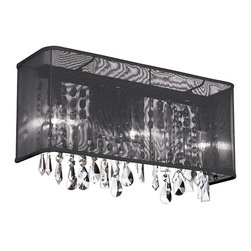Dainolite - Dainolite 2LT Sconce - 2 Light Polished Chrome Crystal Sconce 12 Strands Clear Crystal with Rectangular Black Organza Shade