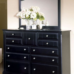 Vaughan Bassett - Triple Dresser & Landscape Mirror Set in Blac - Includes triple dresser and landscape mirror. Triple dresser:. 9 Drawers. 58 in. W x 18 in. D x 44 in. H. Landscape mirror: 42.5 in. L x 2 in. W x 38 in. H. Black finish. Assembly required