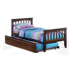 Night & Day Furniture - Sasparilla Twin Bed in Chocolate w Trundle - Bed includes head/foot, rails, slats, trundle. 100% Malaysian Rubberwood construction. Warranty: 5 years. Chocolate finish. 57 in. W x 80.6 in. D x 37.4 in. H (33.5 lbs.)Well, that's a pretty cool old-fashioned word for a pretty cool old-fashioned soft drink. Anyway we thought we had a pretty cool old-fashioned bed that needed a pretty cool old-fashioned name and Sasparilla seemed just right.Take care of your kids' needs for beds, bunks and storage with our Zest Bedroom Collection for Night and Day. Smart quality at extraordinary value. We have gone to great lengths to design and engineer this complete line to keep your cost down and your pleasure up.