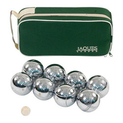 Jaques - Jaques Polished Alloy 8 Boule Bocce Ball Set - Petanque Multicolor - 24180 - Shop for Backyard Games from Hayneedle.com! Silence the competition with a satisfying clang when you throw Jaques Polished Alloy 8 Boule Bocce Ball Set - Petanque. Petanque is an old French or Italian (it depends on who you ask) version of the more popular game of bocce ball. This set brings the metal-balled version to the US with a full set of 8 polished alloy boules and a standard jack or target ball. This gleaming set stores easily in the included zippered canvas carrying case. About Jaques of LondonAs the oldest games company in the world the name Jaques is inexorably intertwined with the history of almost any classic game. After literally inventing croquet popularizing the gold-standard Staunton chess pieces everyone recognizes and building a series of other games and items with the finest wood in the world Jaques has continued to reinvent itself. Today they produce game pieces and sets of the utmost quality in the strongest rarest and best-looking materials on Earth.