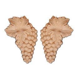"""Inviting Home - Vallejo Wood Carving - White Oak (ON2OK/oy2800-2) - Carved wood grape clusters in white oak 5-1/4""""H x 3-5/8""""W x 7/8""""D dimensions are for one side only sold as a pair of left and right carvings Wood carvings are hand carved in deep relief design from premium selected North American hardwoods such as alder beech cherry hard maple red oak and white oak. They are triple sanded and ready to accept stain or paint. Hardwood carvings are perfect for wall applications finishing touches on the custom cabinets or creating a dramatic focal point on the fireplace mantel."""
