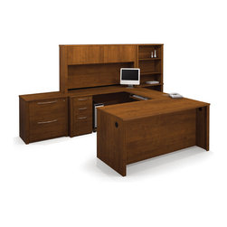 Bestar - Bestar Embassy Tuscany Brown 132 x 92 U-Shaped Workstation Desk - The work surface is made of a durable 1 inch commercial grade work surface with melamine finish that resist scratches stains and wears. It features an impact resistant 0.25 cm PVC edge and classic moldings. Grommets and a rubber strip are available on the station for efficient wire management. The hutch for credenza offers a large closed storage space. The opening has 11 3/4 high which is ideal for letter format binders. The doors are fitted with strong adjustable hinges. Each assembled pedestal offers two utility drawers and one file drawer with letter/legal filing system. One lock secures bottom two drawers. The drawers are on ball-bearing slides and the keyboard drawer features double-extension slides for a smooth and quiet operation. The lateral file offers two file drawers for letter/legal filing on ball-bearing slides for smooth and quiet operation and one lock that secures both drawers. The bookcase has five shelves three of which are adjustable and is modular. The higher part can be placed on top of the Embassy lateral file. Both the Lateral File and the Bookcase feature the signature moldings of the Embassy collection. The entire set meets or exceeds ANSI/BIFMA performance standards and the workstation is fully reversible. Embassy offers numerous configuration possibilities for various uses. Offering smaller desks this collection is ideal for every type of workplace including the home office.Nowadays performance productivity and quality of life are fundamental to achieving our personal and professional goals. Bestar's home and office furniture design is based upon these criteria as well as on today's reality. On average we spend about 40 hours a week at work (home or office) which represents a large portion of our time. Various factors have a direct impact on our well-being at work: an important concern in the current employment environment continually changing and at an ever-increas