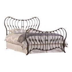 Hillsdale Furniture - Hillsdale Bennington Metal Bed in Rustic Pewter - Queen - Reminiscent of a butterfly's wings, the Bennington Bed is a modern interpretation of the Old World, wrought iron classics. Constructed of metal with a rustic pewter finish, the Bennington's winged headboard and footboard are highlighted by swooping vertical bars and fleur-di-lis accents. Available in queen and king sizes. Some assembly required.