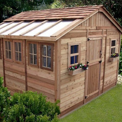 Outdoor Living Today - Outdoor Living Today SSGS1212 Sunshed 12 x 12 ft. Garden Shed Multicolor - SSGS1 - Shop for Sheds and Storage from Hayneedle.com! The enormous Outdoor Living Today SSGS1212 Sunshed 12 x 12 ft. Garden Shed is a perfect choice for the serious gardener. This beautiful greenhouse structure is constructed from durable western red cedar which offers both stability and beauty. The Sunshed also features a handy workbench and it lets in plenty of natural light with the two functional screen windows and the four fixed side windows. Any green thumb can appreciate features like the energy-saving lexan polycarbonate roof windows a 31-inch Dutch-style door on the side of the shed and a mahogany veneer on the interior panels. Assembly is a weekend project for one or two people. One-year limited warranty included.DimensionsExterior: 12W x 11.5D x 9.4H feetInterior: 11.4W x 10.9D x 9.2H feetDoor: 2.6W x 6H feet About Cedar WoodCedar wood is lightweight and resistant to both cracking and moisture rot. The oils of this resilient wood guard against insect attack and decay and their distinctive aroma acts as a mild insect repellant. Cedar is a dependable choice for outdoor furniture either as a finished or unfinished wood. Over time unfinished cedar left outdoors will weather to a silvery gray patina. This natural process does not compromise the strength or integrity of the wood.Another great aspect of cedar is its environmental effect - which is minimal. A renewable resource cedar wood emits low greenhouse gases. So rest assured knowing that your beautiful cedar furniture is a green choice too!For your convenience liftgate service is included with this purchase. This means that upon delivery the carrier will use a liftgate on the truck to lower your item to the ground. You will then need a dolly or handtruck or assistance with the product from that point on. Many retailers charge for this service of getting the package off the truck or require the customer to do 