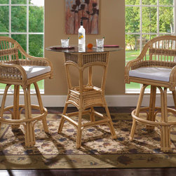 Rattan Bar Stools/Table Set of 3: Tropical Breeze Rattan - This tropical rattan bar stool set will give you a mixture of tropical style and simple casual lounging for you and your guests.