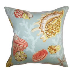 "The Pillow Collection - Tait Coastal Pillow Aqua Yellow - Style your interiors with a fresh looking accent pillow like this accent pillow. This square pillow features a coastal-inspired design complete with sea creatures. Shades of blue, yellow, orange and brown are featured in this throw pillow. This 18"" pillow is 100% cotton made, which ensures long lasting quality. Hidden zipper closure for easy cover removal.  Knife edge finish on all four sides.  Reversible pillow with the same fabric on the back side.  Spot cleaning suggested."