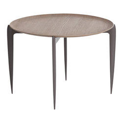 Kathy Kuo Home - Barron Mid Century Modern Gray Lacquered Folding Tray End Table - Tray tables just became cool.  Like a stylish set piece straight out of Mad Men, this grey lacquered folding table is at once retro and ultra modern in design. With a unique, round weathered oak tabletop that slopes up at the edges, where it's cradled by a contemporary base design, you'll never want to fold this up and put it away.