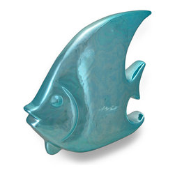 Zeckos - Ceramic Angel Fish Blue Chrome Finish Sculpture - Welcome the exotic beauty of the sea with this Angelfish sculpture to display in your home, by the pool or at the office. It boasts a chrome like polished blue finish, and it's great to accent shelves, tables, counters and desks, and is 7 inches (18 cm) high, 8 inches (20 cm) long, and 2.5 inches (6 cm) wide. This fun fish sculpture will whimsically reflect your style whether it's beach, nautical or otherwise, and makes a wonderful gift.