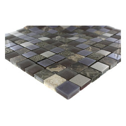 """Fusion Shagbark Marble & Glass Tiles - sample-FUSION SHAGBARK 1/4 SHEET GLASS TILES SAMPLE You are purchasing a 1/4 sheet sample measuring approximately 6"""" x 6"""". Samples are intended for color comparison purposes, not installation purposes. -Glass Tiles -"""