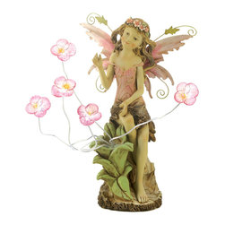 Koolekoo - Peony Fairy Solar Garden Statue - A sweet young fairy pauses to admire a new-found patch of blushing blooms, blessing your garden with the beauty of spring. Enjoy this statue both day and night, thanks to tiny solar lights nestled inside each lovely flower!