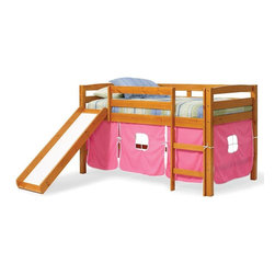 Chelsea Home - Twin Tent Bed with Slide - NOTE: ivgStores DOES NOT offer assembly on loft beds or bunk beds. Mattress not included. Rustic style. Hand finished stain with three step process to compliment natural wood grain. Rails connect to bed ends by metal to metal machine bolt and t-nut for secure hold. Tested by Federal Safety Standards which require 400 pounds to be placed in the top bunk on top of mattress foundation. Meet and exceed all of the following rules: ASTM F-1427-07, CFR 1213, CFR1513 and lead testing. Weight capacity: 250 pounds. Constructed for strength and durability. Warranty: One year. Made from solid pine wood. Honey finish. Made in Brazil. Assembly required. 81 in. L x 41 in. W x 46 in. H (99.22 lbs.). Bunk Bed Warning. Please read before purchase.Warning: Falling hazard, bunk beds should be used by children 6 years of age and older!