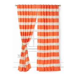 Crochet Spliced Curtain, Coral - These curtains make me want to dance. They are a dramatic addition to any space and are appropriate for every age.