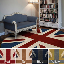 Surya - Hand-tufted Union Jack Novelty Contemporary Round Area Rug (8' Round) - This one of a kind rug will be the perfect accessory to add that finishing touch to your decor. Whether you want a splash of color or a subtle accent,this area rug is the perfect choice.