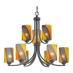 Design Classics Lighting - Modern Chandelier with Art Glass in Matte Black Finish - 586-07 GL1015C - Contemporary / modern matte black 9-light chandelier. Takes (9) 100-watt incandescent A19 bulb(s). Bulb(s) sold separately. UL listed. Dry location rated.