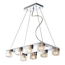 ET2 Lighting - ET2 Lighting E22036-18 Modern Island Light In Polished Chrome - ET2 Lighting E22036-18 Modern Multi Light Linear Pendant In Polished Chrome