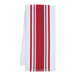 """KAF Home - Striped Kitchen Towels, Cherry, Set of 4 - A essential in any kitchen, our herringbone weave center band towels are ready for drying pots and pans or mopping up spills. These 30"""" x 20"""" kitchen towels feature a center stripe and are available as a set of four."""