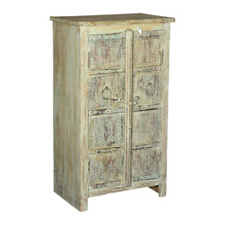 Sierra Living Concepts - Amish Reclaimed Wood End Table Cabinet with Wrought Iron - Bring some rustic flair to your home with the stylish Amish Reclaimed wood Small End Table double door cabinet. Explicitly handcrafted with old reclaimed wood, this single-shelf storage cabinet features naturally aged Pale yellow finish that will add a vintage feel to your room.
