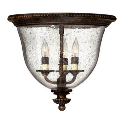 Hinkley Lighting - Rockford 3-Light Flush Mount - Hand-blown Clear Seedy glass adds character to the well-aged Forum Bronze finish of the Rockford collection. Comes in Forum Bronze finish. Takes 3 60 Watt Candle Bulbs.