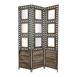 Oriental Furniture - 6 ft. Tall Antiqued Photo Frame Room Divider - This rustic folding room divider features built-in picture frames for displaying photographs and artwork. Exceptional craftsmanship shows through the distinctive, distressed wood finish and the oxidized metal frame reinforcing each panel.