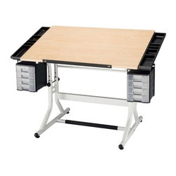 Alvin and Co. - CraftMaster II Wood Drafting Table - The ultimate in function, utility and convenience at an affordable price for the artist or hobbyist, the height adjustable CraftMaster II has been designed from the bottom up to meet your creative needs. It is certain to satisfy both children and adults, beginning artists and professionals. The attractive 28'' x 40'' top combines with left and right storage trays to create an overall 28'' x 48'' work surface providing plenty of workspace. The top tilts easily for a comfortable working angle to suit any project or style. Features: -Cherry woodgrain top with rounded corners.-One-hand tilt mechanism adjusts tabletop from 0 to 30.-Height adjusts 28'' to 32'' using casters or 26'' to 30'' using floor gliders.-Two sets of 4-drawer storage units.-Footrest crossbar with rubber tread and 29 '' of leg room.-Tabletop and base packed securely in one UPS-able carton.-Metal pencil ledge and plastic instrument tray both included.-Sturdy tubular steel construction.-Distressed: No.Dimensions: -Weight: 65 lbs.-Dimensions: 9'' H x 7'' W x 10'' D.-Table top dimensions: 40 '' W x 28 '' D.-Overall Product Weight: 65 lbs.