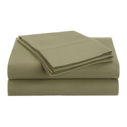 Microfiber Queen Sheet Set, Sage, Solid - Explore the amazing feel of our Vanessa Collection microfiber sheets. Made with 100% microfiber and designed to resist wrinkles and pilling, they will stay like new through many machine wash cycles. Strong and durable, yet luxuriously soft, these sheets offer all the advantages of standard cotton sheets at less cost to you! Set includes one flat sheet 90x102, one fitted sheet 60x80, and two pillowcases 20x30 each.