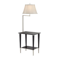 """Lamps Plus - Contemporary Avril Modern Black End Table Floor Lamp - Modern end table floor lamp. Black finish table. Brushed nickel finish legs and accents. Wood and metal construction. Collapsible fabric shade. With a bottom shelf for storage. Maximum 150 watt or equivalent bulb (not included). On/off switch. Some assembly required.  Wood and metal construction.  Black finish table.  Brushed nickel finish legs and accents.  Swing arm feature.  Collapsible fabric shade.  With a bottom shelf for storage.  Maximum 150 watt or equivalent bulb (not included).  On/off socket switch.  53"""" high.  Shade measures 10"""" across the top 16"""" across the bottom and 10"""" on the slant.  Table measures 20"""" x 14"""" x 22 3/4"""" high.  Some assembly required."""