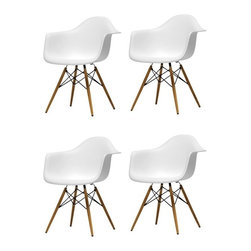 Ariel - Set of 4 Eames Style Daw Molded Plastic Dining Armchair with Wood Eiffel Legs - This set of 4 Eames Style Daw Molded White Plastic Dining Armchair with Wood Eiffel Legs comes with four beautiful ergonomic arm chairs to easily provide extra seating for your family and guests. Sporting a clean, simple, retro, yet modern design sculpted to fit the body, this gorgeous armchair set is the perfect addition to the kitchen, patio, or deck. Available in white, black, or light blue.