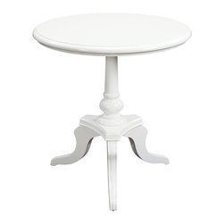 Sterling Furnishings - Sterling Furnishings Unique Decor Items Table in Unfinished Item - Shown in picture: White Chapel Table. The traditional side table has a new look in this shiny - high gloss finish. The soft white color makes this versatile round table easy to place in a variety of settings. Elegant tripod base and large round top.