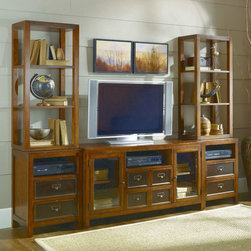 Hammary - Hammary Mercantile 3 Piece Unit Entertainment Center - Create a focal point in your living space that is both stylish and purposeful with this television wall unit from the Mercantile collection. Finished in a warm Whiskey color  this casually styled piece offers clean lines with straight square legs and a splash of character found in the accent metal hardware. A wide variety of open and closed storage spaces provide the piece with organization opportunities and a place to showcase your favorite decorative accessories. This wall unit features two glass-front doors with one adjustable shelf behind each  six drawers - the top drawer on the center console includes a drop-front for use with media components  and three open compartments where DVD players  DVRs  and any other electronic accessories can be stored. Four open adjustable shelves - two on each flanking pier - provide the perfect place to display family photos and other items of your choosing. Encourage relaxation in your home with the fashion and function this entertainment wall unit from the Mercantile collection has to offer.
