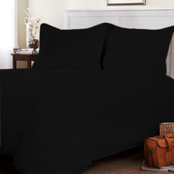 "Egyptian Cotton Sheet Set With Extra 27"" Deep Pocket 600 TC Solid (King, Black) - Set include 1 Fitted sheet(76 x 80 inches), 1 Flat sheet(108 x 102 inches�) and 2 king-size pillowcases(20x 40 inches��) only."