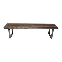 Mt Hood Wood Works - 4 ft Hammered steel Bench - 4 ft Hammered steel Bench