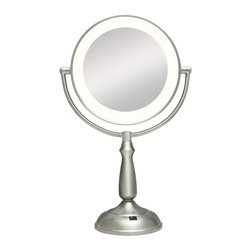 Zadro - Zadro Ultra Bright  Led Lighted 1X/10X Round Vanity Mirror In Satin Nickel-Ledvp - The Ultra Bright LED Lighted Vanity Mirror features a dual-sided, premium quality mirror with two magnifications. On one side, a 10x magnification mirror allows you to see up-close and in detail, allowing for easy make-up application. The other side features a normal, 1x magnification mirror that is great for checking hair and make-up.