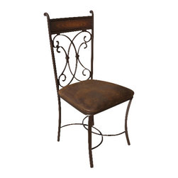 Artisan Home Furniture - Artisan Home Valencia Hand Forged Chair with Microfiber Seat - Hand-forged iron with comfortable microfiber seat.