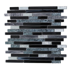 """mosaicandtilesource - """"ARTIC SUNSET"""" Black Silver Grey Mosaic Backsplash Tile - This tile delivers a rich effect of black with a combination of silvery ice grey ."""