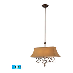 ELK Lighting - ELK Lighting 31255/2-LED Linear 2-Light Island Lights in Mocha - These linear pendants offer a great alternative to a standard mini pendant and can accentuate a kitchen island or spaces that benefit from a slim design, robust decorative style, and rich finishes. The fabric shade of each fixture is custom designed to complement the metalwork creating a unique and free-flowing lighting experience. - LED, 800 lumens (1600 lumens total) with full scale dimming range, 60 watt (120 watt total)equivalent , 120v replaceable LED bulb included