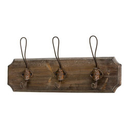 3-hook Wood And Iron Coat Rack - Hang larger hooks for hanging coats, backpacks and purses.