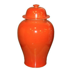 Belle & June - Orange Crackle Temple Jar - Two of these on your mantel could be just the pop of color your space craves. The orange will transform a room from ordinary to extraordinary. Add a throw in the same color to your couch and you'll have an instant facelift.
