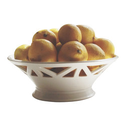 Convivial Production - Architectural Ivory Fruit Bowl - This lovely fruit bowl is wheel-thrown, hand-carved, and finished in a soft, ivory, satin glaze. It is a beautiful centerpiece for your dinning room table and kitchen counter tops. Utilize it for your fresh fruits and breads.