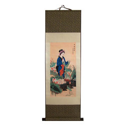 Oriental-Decor - Lady in Blue Chinese Print Scroll - A Chinese maiden fitted in a regal blue dress with red sash stands among a bed of lotus flowers and wild foliage. In her hand she holds a cloth that she is washing in a stream. This vibrant and beautiful scroll will make a splendid addition to any wall in your home.