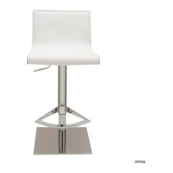 Nuevo Living - Colter Adjustable Stool, White, Set of 2 - A little flexibility in a bar stool goes a long way. That's why this handsome leather and stainless steel stool is such a keeper. You can adjust it to counter height for the kitchen or use it at the bar in the games room.