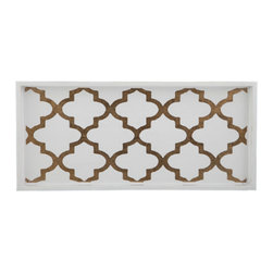 Belle & June - Arabesque Coffee/Cream 2-Drink Tray - Utilitarian never look this good! Chic enough to serve your guests appetizers and drinks, this tray also can serve in your bathroom to keep items organized or in your dining area to display beautiful decanters and stemware.