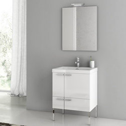 Nameeks - Nameeks | New Space Bathroom Vanity - Made in Italy. A part of ACF by Nameek's.The New Space Bathroom Vanity provides ample storage solutions in modern bathrooms. This vanity cabinet includes two doors which can be easily opened and closed. You can also store your toiletries in the long, bottom drawer. A beautiful porcelain sink, fitted atop the vanity, has a single faucet hole designed to fit contemporary faucets. This vanity set also includes a large mirror and vanity light. The four chromed legs allow this striking vanity to stand firmly on the bathroom floor. Product Features: