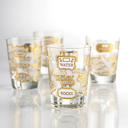 Golden Old-Fashioned Glasses - Set of 4 - There's nothing old-fashioned about these glasses. They feature golden decals with markers for scotch, bourbon, and various mixers. Channel your own cosmopolitan side with this set of glasses for your own happy hours.
