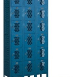Vented Metal Locker, Six Tier Box Style - I love lockers. They are large, make a statement and can come in just about any color. Lockers in the game room, playroom, office or even in your dining room (if you are daring) can hold games, toys or kitchen linens.